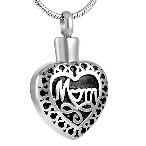 KBFDWEC 'Mamá en mi corazón Collar de urna Conmemorativa de Acero Inoxidable Recuerdo Joyería de cremación para Guardar Las Cenizas de los Seres Queridos
