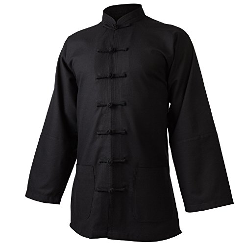 wu designs Leinen (Mittel) Kung Fu & Tai Chi Shirt Stehkragen Langarm - Taiji Anzug Schwarz 195
