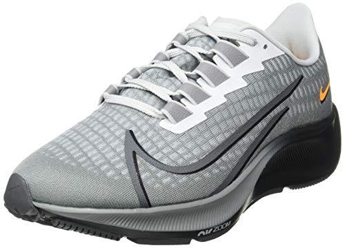 Nike Herren AIR Zoom Pegasus 37 Laufschuh, Particle Grey Dk Grey Black White Pure Platinum Laser Orange, 44 EU
