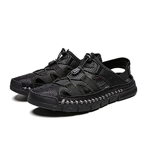 Mfacl Sandalias de Cuero de Playa Zapatos Masculinos de Cuero Genuino Hombres Sandalias de Verano Zapatos de Verano Moda Playa al Aire Libre Casual Antideslizante Zapatillas de Deporte Calzado