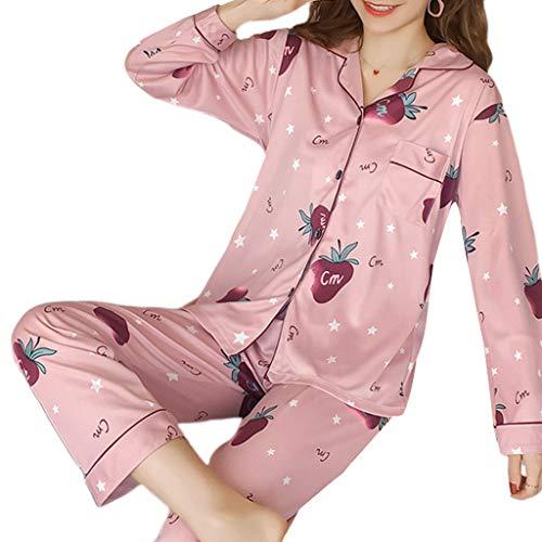 Youliy pijama para mujer, manga larga, con botones y muescas en el cuello, pantalones sueltos, ropa de salón M-2XL 19 estilos 2 X-grande 14