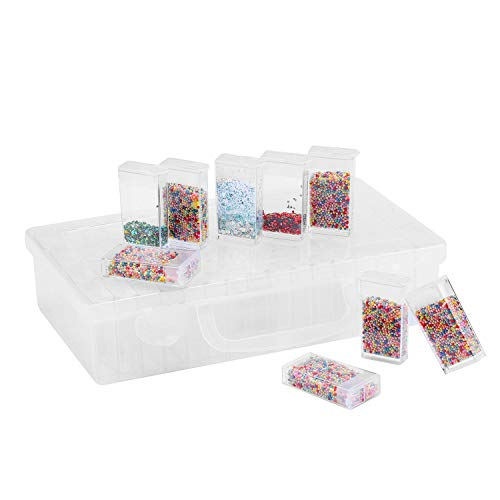 Diamond Bead Storage Containers, 64 Pcs Removable Clear Plastic Organizer with Snap Shut Lid for Nail Art Rhinestone Jewelry DIY Diamond Cross Stitch Tools and Other Small Items
