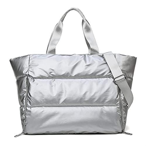 Bolsa de Viaje de Moda Empresar a Prueba de Agua Bolso de Yoga Femenino Gimnasio Fitness Bolsos y Bolsos de Bolsos para Las Mujeres 2021 (Color : Silver)