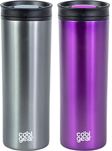 2 PACK COOL GEAR 20oz Amelia Coffee Travel Mug with Spill Proof Slider Lid Colored Tumbler