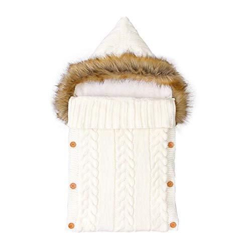 Saco de dormir para recién nacido Swaddle Wrap gris con capucha bebé niña saco de dormir de punto invierno grueso cálido infantil cochecito edredón A