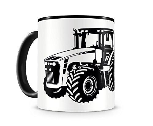 Samunshi® Traktor mit Anhänger Tasse Kaffeetasse Teetasse Kaffeepott Kaffeebecher Becher H:95mm/D:82mm schwarz