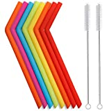 Pajitas de silicona reutilizables dobladas con cepillo de limpieza - Extra largas para vasos de 30oz y 20oz y libres de BPA (Juego de 10)