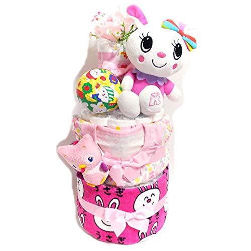 2103おむつケーキ3段女の子 ウサギちゃんぬいぐるみとベビー服オムツケーキ出産祝い