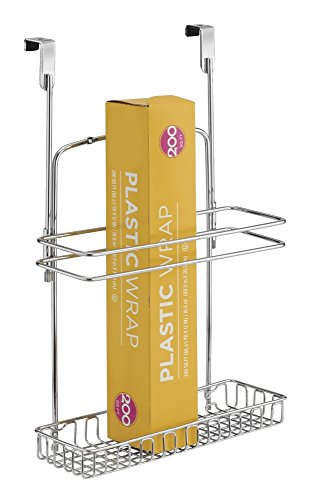 mDesign portaoggetti - Ideale per Rotoli scottex e Rotoli di Carta Forno - Colore Acciaio Cromato - Anche da Appendere - per Bagno e Cucina