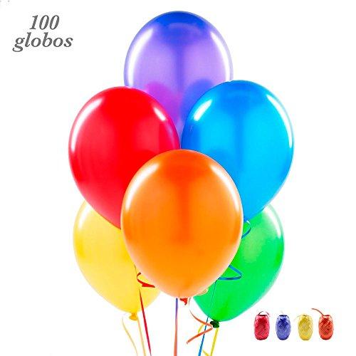100 Globos de látex de Colores Variados y Cinta de Colores