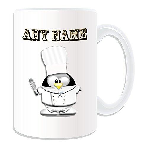 UNIGIFT gepersonaliseerd geschenk - grote kok met mixer mok (Penguin in kostuum ontwerp thema, wit) - elke naam/boodschap op uw unieke - hoge hoed