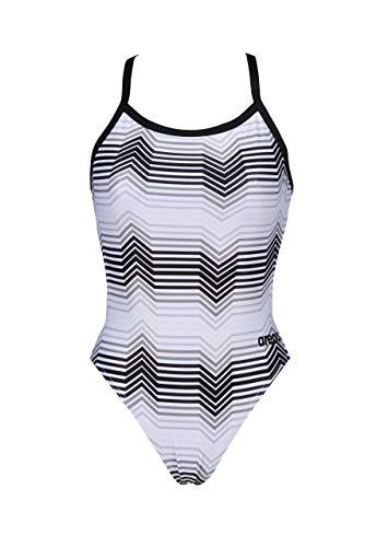 ARENA - Costume Intero da Bagno da Donna Water Challenge Back MaxLife, Donna, Costume Intero, 000336, Multicolore Strisce Nero/Grigio Multi, 38