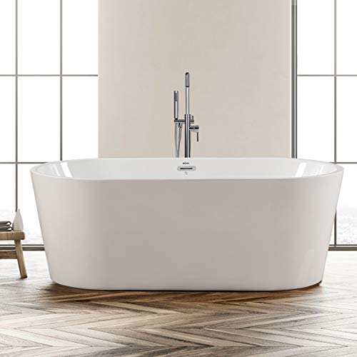 FerdY Freestanding Bathtub 67' x 31' Classic Oval Shape Freestanding Soaking Acrylic Bathtub, F-02522 Modern White, cUPC Certified, Drain & Overflow Assembly Included (F-02522-67'')