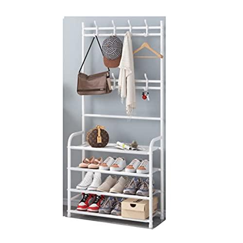 Yyqx Zapatera Moderno Abrigo Rack Zapato Entrada Material de Almacenamiento Material de Metal con Muebles de Apariencia de Hierro 3 en 1 diseño fácil de Montar Zapatero (Color : White)
