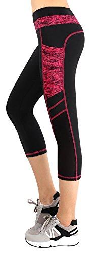 Munvot Legging Femmes Sport Jogging Capri Yoga Fitness Noir Séchage Rapide avec Poches Taille Grande,Noir/Rouge,S
