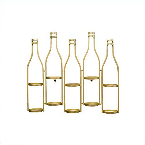 LTLWSH Cantinetta portabottiglie da Parete Stile RETR Ograve Scaffale Vini Scaffale in Metallo Vintage per ristoranti, Bar, per 5 Bottiglie Supporto Bottiglie Porta Bottiglie,d'oro