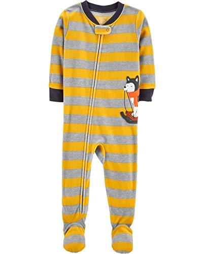 Carter's Schlafanzug 104/110 Fleece Einteiler Junge Boy warm Weich Winter Reißverschluss (104/110, gelb/grau)