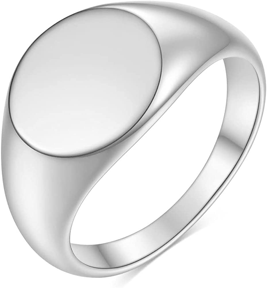 Stainless Steel Round Shape Signet Style Classical Simple Plain Wedding Engagement Statement Rings
