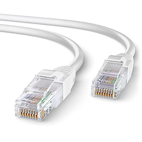 Mr. Tronic 25m Câble de Réseau Ethernet | CAT6, AWG24, CCA, UTP, RJ45 (25 Mètres, Blanc)