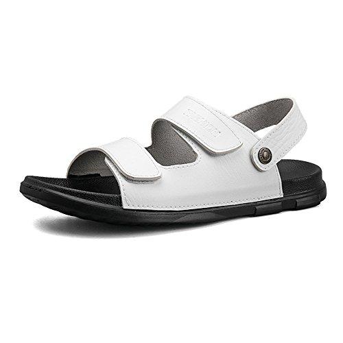 Sandalias clásicas Oxford para hombre, sandalias de cuero con suela suave, sandalias de tacón de playa (color: blanco, tamaño: 6,5 meses)