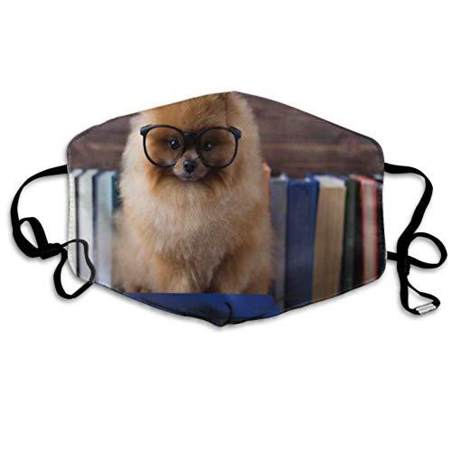 Cleverer pommerscher Hund mit einem Buch Staubschutz Mundschutz Gesichtsschutz Staubschutz Einzigartiger Staubschutz