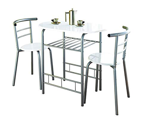 Dining or Breakfast Table with 2 Chairs Metal Frame – Compact and Modern Design for Kitchen & Dining Room [White Gloss]