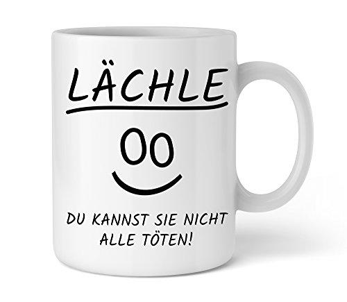 Shirtinator Geschenk Kaffee-Tasse mit Spruch I Lächle du kannst sie nicht alle töten I Geschenkidee-n Büro Kollegen Frauen Geschenk schwarzer Humor