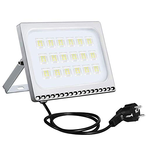 Sararoom 100W Proyector LED exteriores, 8000LM Focos led, IP65 Impermeable Foco Proyector LED Ultra Plano con enchufe, 6500K Blanco frío Floodlight, para jardín fábrica estadio terraza