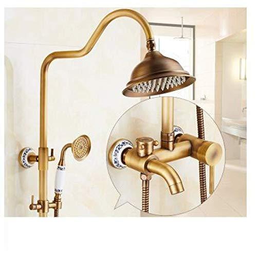Zixin Waschtischmischer Armaturen, Küchenarmaturen, Antik-Regen-Dusche-Hahn-Set mit Hand Messing Wand befestigter Brausen Badezimmer Badewanne Luxus Niederschlägen Set Dusche