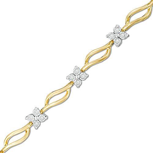 SLV Pulsera de eslabones de diamante redondo de 1,25 quilates, color D/VVS1, de corte redondo cuádruple en plata de ley 925 chapada en oro amarillo de 10 quilates