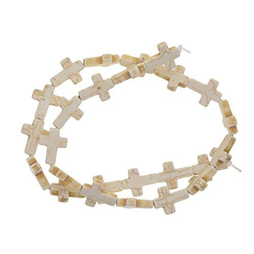 Homyl Synthetischer Stein Anhänger Kreuz Spacer Beads selbst Machen, Perlen basteln, Schmuck - Weiß