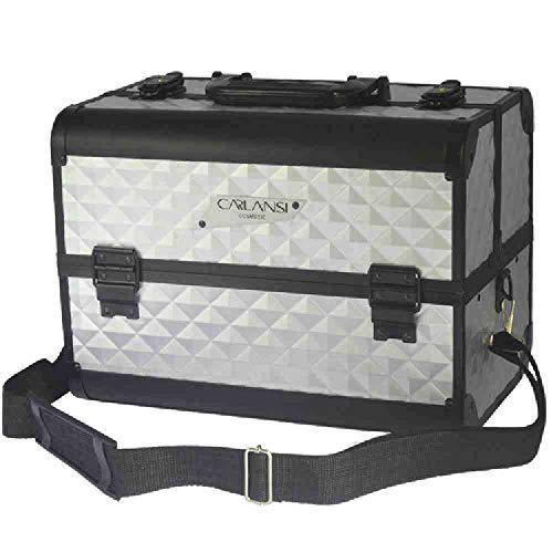 OYHBGK Alliage d'aluminium haute capacité multifonctionnel portable sac cosmétique portable portable cas cosmétique boîte de collection de maquillage