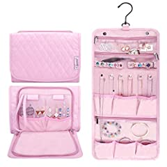 Perfect for travel - Keep your treasures organized and protected while you travel with our Large hanging jewelry travel organizer case (pink) Roomy Size - Dimension: 10.25'' L x 7.9'' W x 1.5'' H (26cm L x 20cm W x 4cm H), Weight: 0.84pounds/380g Lar...