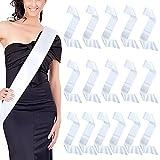 Dreamtop 16Pcs White Blank Satin Sashes Pageant Sash DIY Plain Senior Sashes for Beauty Pageant,Wedding,Birthday Party DIY Supplies Blank Sashes to Decorate