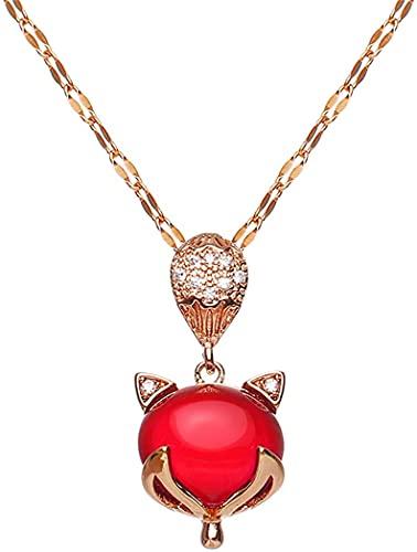 Collar con colgante curativo de cristal de cornalina roja Protección de gemas reales Collar de zorro de ágata de cristal Joyas de chakra de piedras preciosas de cornalina para mujeres y niñas