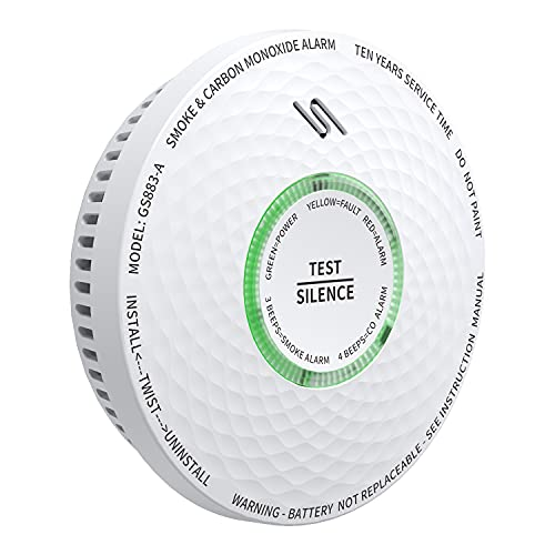 Meross, Detector de Humo y monóxido de Carbono, Combinado con batería de 10 años, Potente Sirena, verificación automática y botón de Prueba, certificada según EN14604 y EN50291