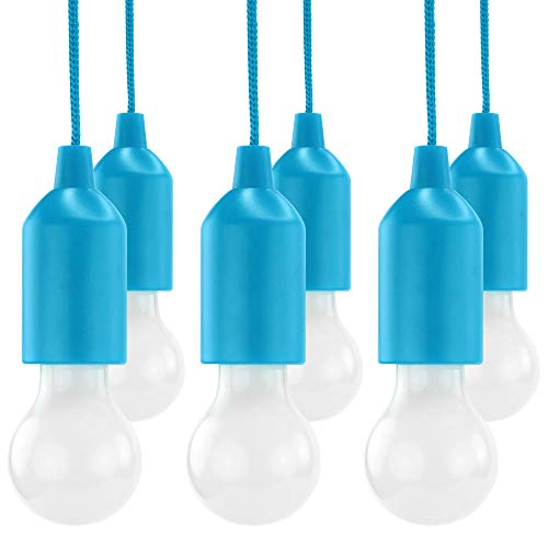 HyCell Pull Light 6er Set mit Zugschalter inkl. AAA Batterien - Tragbare LED Lampe warmweiß - Mobile Leuchte ideal für Garten Schuppen Zelt Camping Dachboden Kleiderschrank oder Party Dekoration