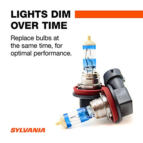 SYLVANIA H11 SilverStar Ultra High Performance Halogen Headlight Bulb, (Contains 2 Bulbs), White (H11SU.BP2)