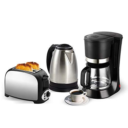 Set petit déj - Grille pain 2 fentes inox + Bouilloire inox 1.8L + Cafetière 12 tasses
