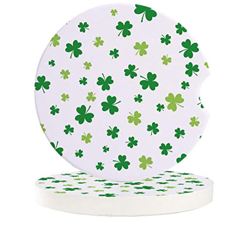 Car Coasters for Drink Celtic Knots Lucky Shamrock For Happy St. Patrick's Day Absorbent Ceramic Cup Holder Coaster Set of 2 Fit Most Cars Auto Accessories for Vehicle White