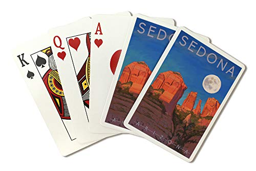 Sedona, Arizona, Cathedral Rock, Moon, Oil Painting (Playing Card Deck, 52 Card Poker Size with Jokers)