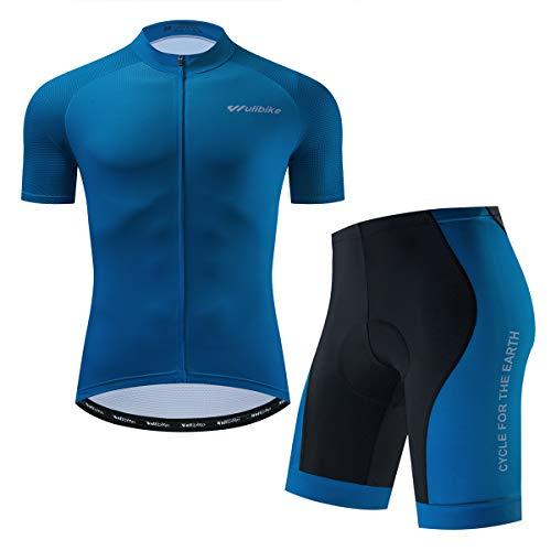 logas Completo Abbigliamento Ciclismo Uomo Tuta Bici da Corsa Estivo Maglia MTB Manica Corta + Pantaloncini Imbottiti