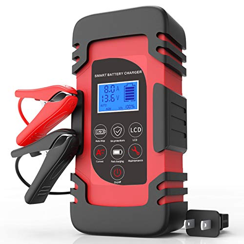 Luoges Car Battery Charger 12V 4A/6A/8A | 24V 4A |New Upgraded Smart Automotic Trickle Charger/Maintainer for CarTruckMotorcycleLawn MowerSUVSLAATVRVSUVWet AGMGel CellLead Acid Battery