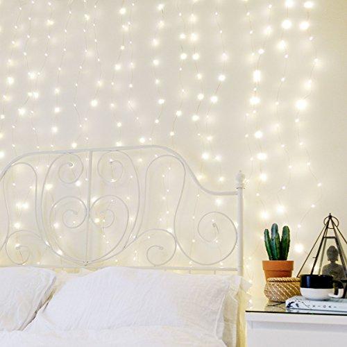 Festive Lights strombetriebener Kupferdraht Lichter-Vorhang mit 400 Mikro-LEDs in warmweiß, 2m x 2m