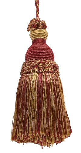 Decorative 13cm Key Tassel, Burgundy Red, Gold Imperial II Collection Style# IKTJ Color: BURGUNDY GOLD - 1253