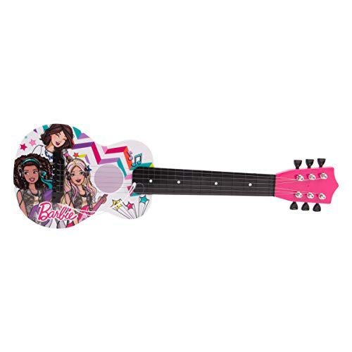 Barbie 21' Kids Guitar Toy GT1-01371 | Inspired Design, Easy-to-Hold, Thin Frets and Low String, Traditional Acoustic Guitar Shape, Secret Stickers, Real Tuning Gears