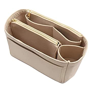 Felt Purse Organizer Insert Handbag Bag in Bag Organizer with Zipper Wallet Bag Bottle Holder 8023 Beige L