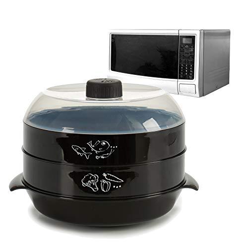 AR Vaporera Dos Pisos para Uso en Microondas Cocina al Vapor Color Neutro, Aleatorio (Blanco o Negro)