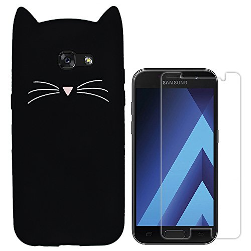 Hcheg 3D Silicone Protective Case Cover for Samsung Galaxy A3 (2017) Cover cat Design Black Case Cover + 1X Screen Protector