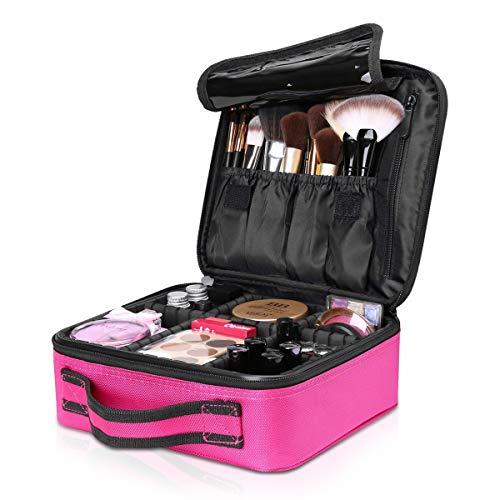 NICOLE & DORIS Bolsa de maquillaje portátil neceser de maquillaje Estuche Organizador de maquillaje Bolsa de cosmética Impermeable Rosa